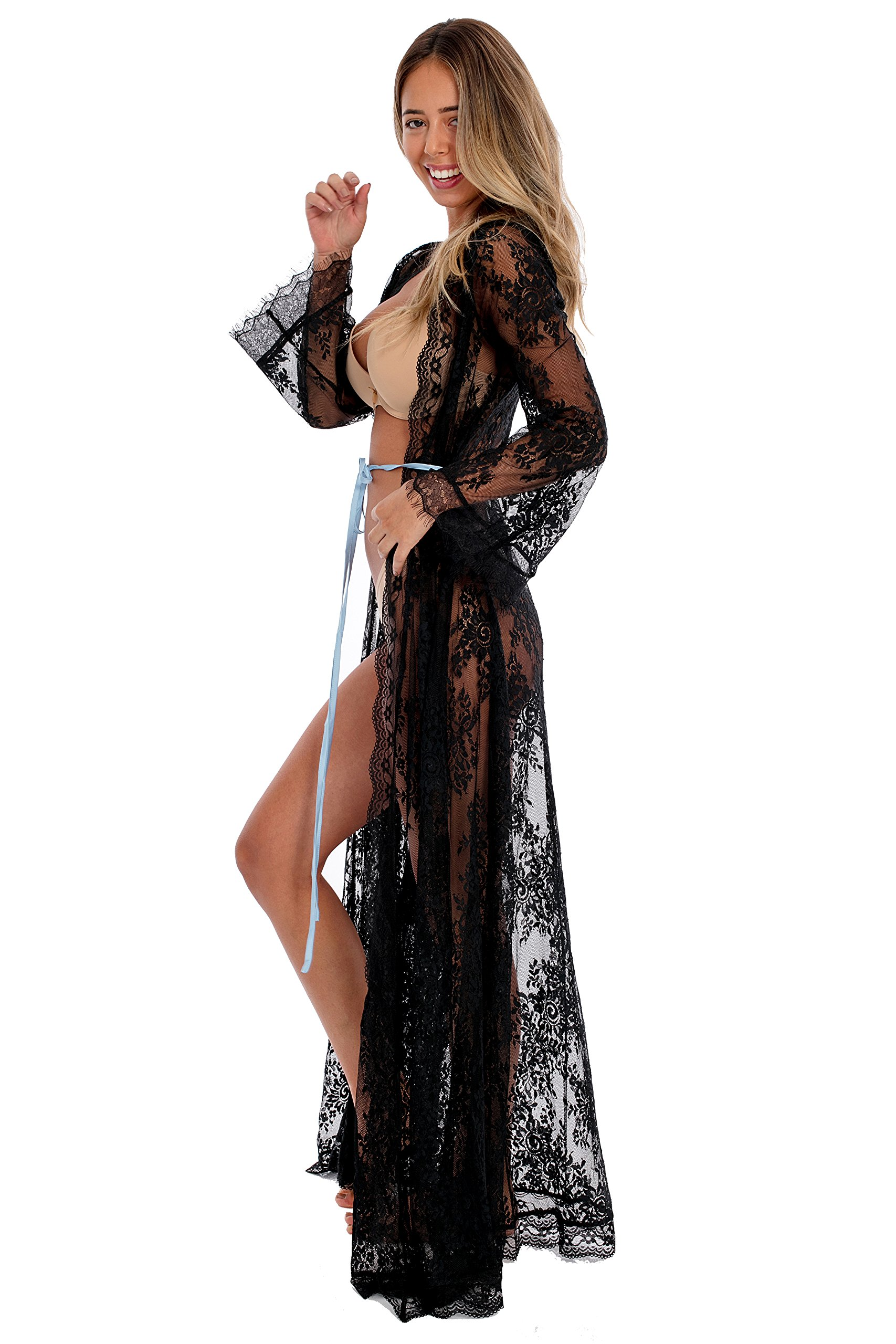 Aporei Lace Kimono for Beach - Sheer Long Robe - Swim Coverup - Lingerie Gift (X-Large, Black)
