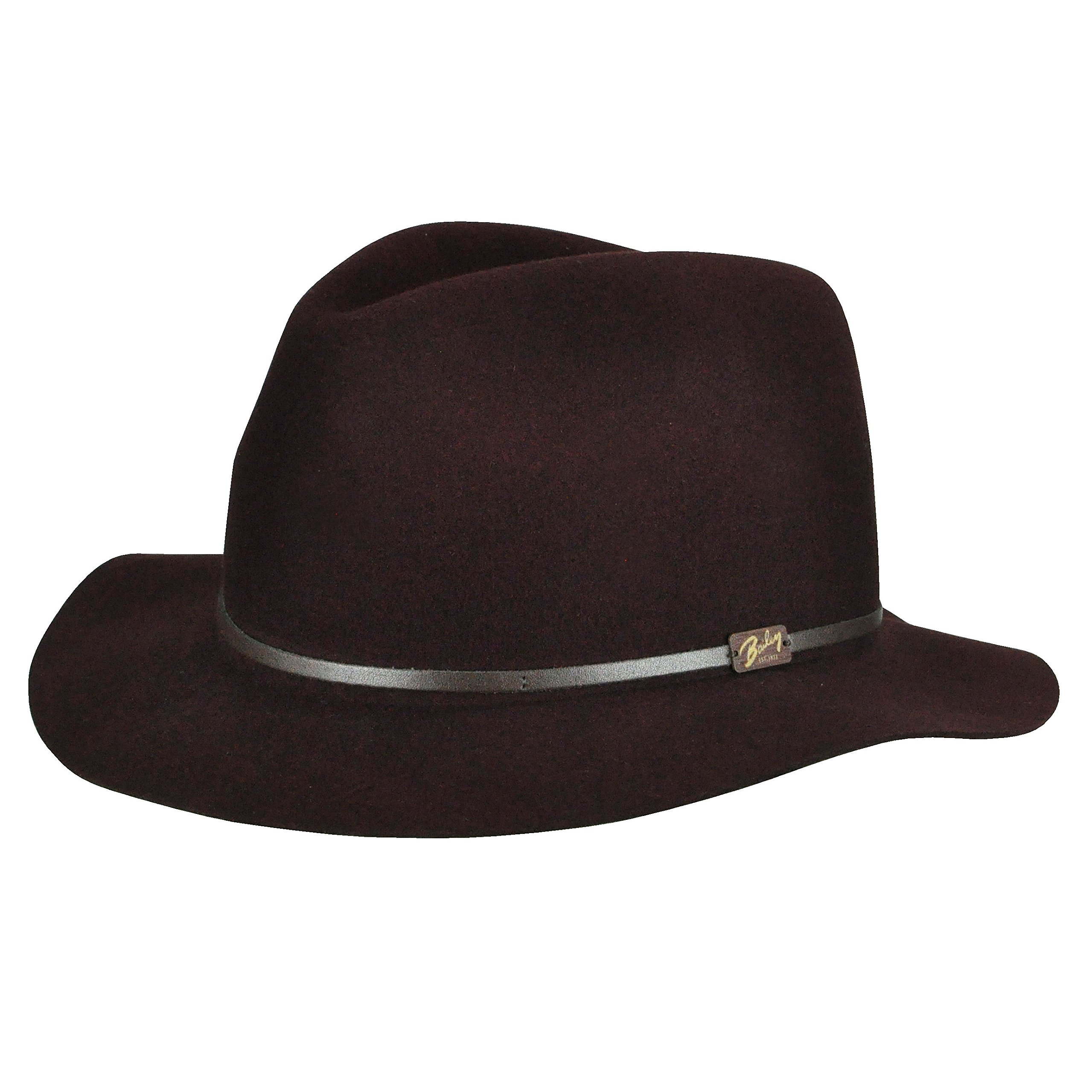 Bailey of Hollywood Jackman Litefelt Wide Brimmed Fedora, Lightweight, Packable and Comes with Travel Dust Bag, Burgundy (Small)