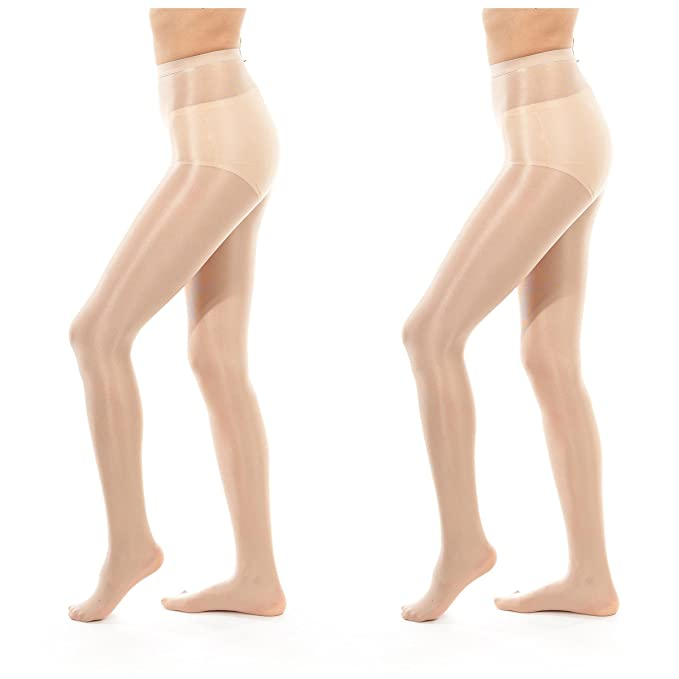 4b39280d248 ElsaYX 70D Women s Shiny Glossy Sheer-to-Waist Tights 2 Pairs - Beige One  Size at Amazon Women s Clothing store
