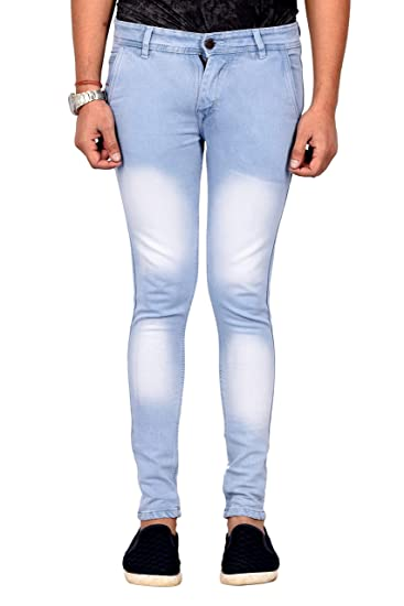 0e5f9be428a Waiverson Slim Fit Men s Light Blue Straight Pocket Jeans  Amazon.in   Clothing   Accessories