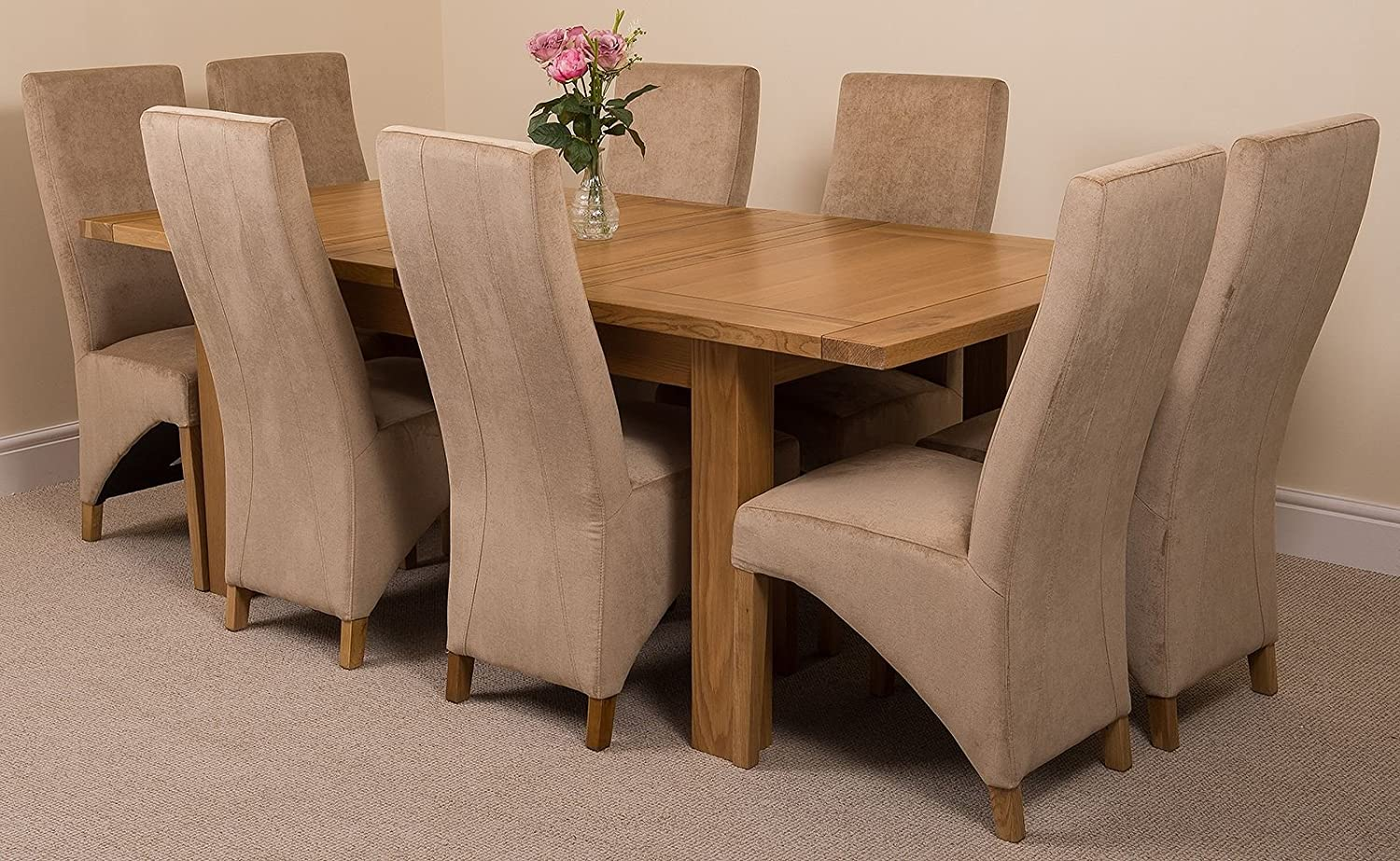 Modern furniture direct seattle extending kitchen solid oak dining set table 8 beige fabric chairs amazon co uk kitchen home