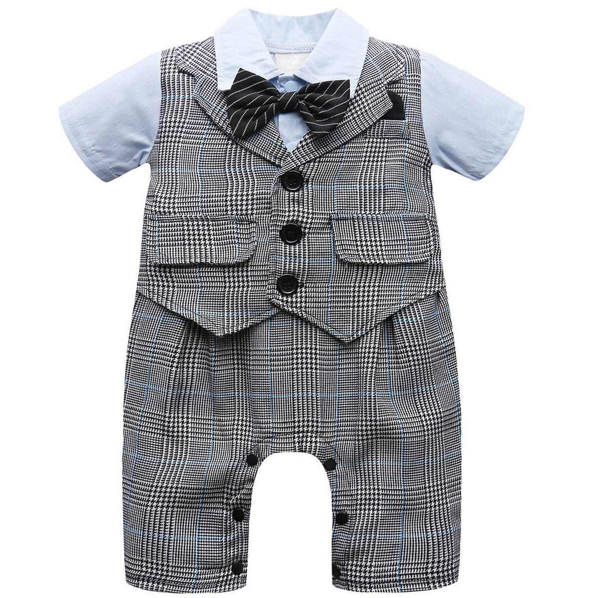 A&J Design Baby Boy Gentleman Romper with Bow Tie Formal Jumpsuit