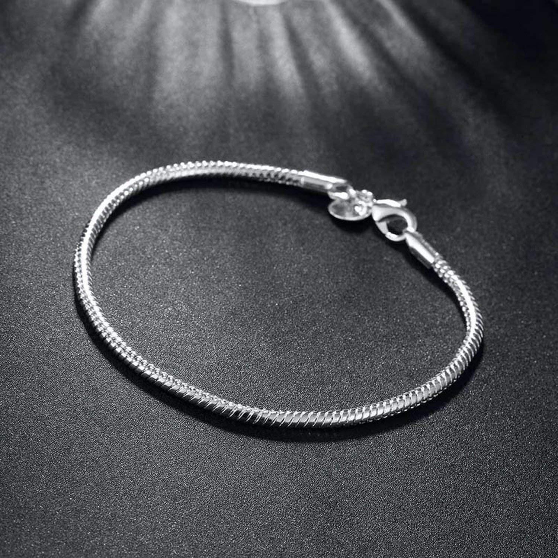 Size 3Mm 20Cm Silver Bracelet /& Bangle Women Fashion Jewelry Beauty-inside Latest Women Silver Bracelet Simple Design Snake Chain