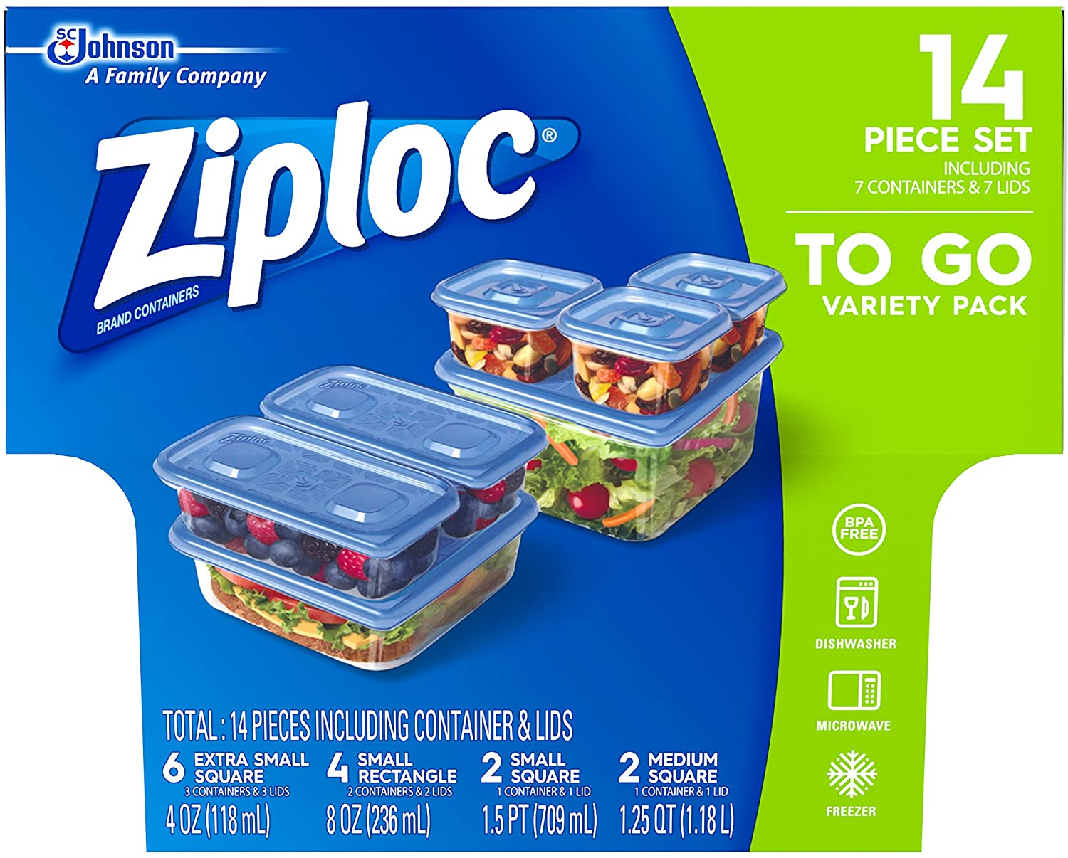 Ziploc Food Storage Meal Prep Containers with One Press Seal, For Travel and Organization, Dishwasher Safe, 14 Count (Variety Pack)