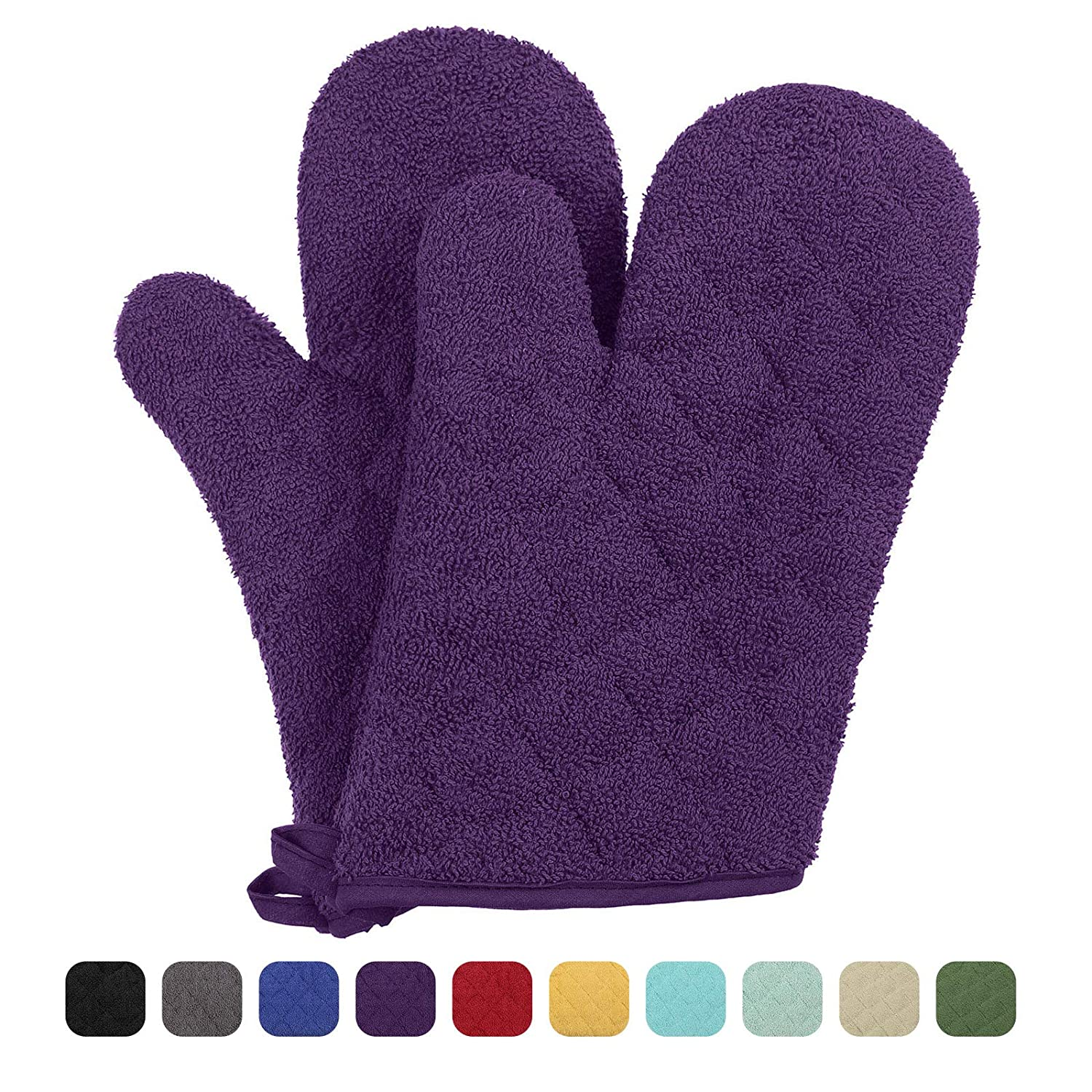 VEEYOO 100% Cotton Oven Mitts Kitchen Oven Gloves Heat Resistant Terry Oven Mitts 7x12, Light Purple