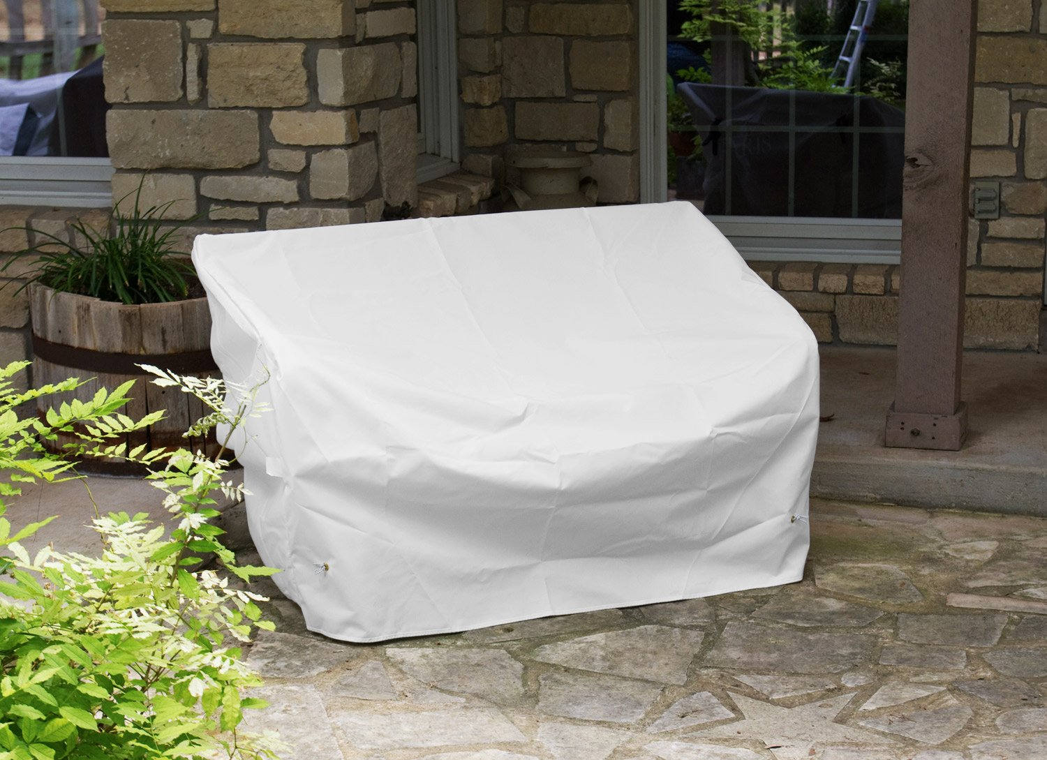 KoverRoos Weathermax 14204 5-Feet Bench/Glider Cover, 75-Inch Width by 28-Inch Diameter by 37-Inch Height, White by KOVERROOS (Image #4)