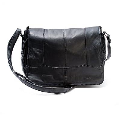 Lady s Black Leather Flapover Cross Body Shoulder Bag Handbag ... 286a9d9b19f66