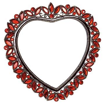 Amazon.com : Welforth Red Rhinestone Love Heart Shape Picture Frame ...