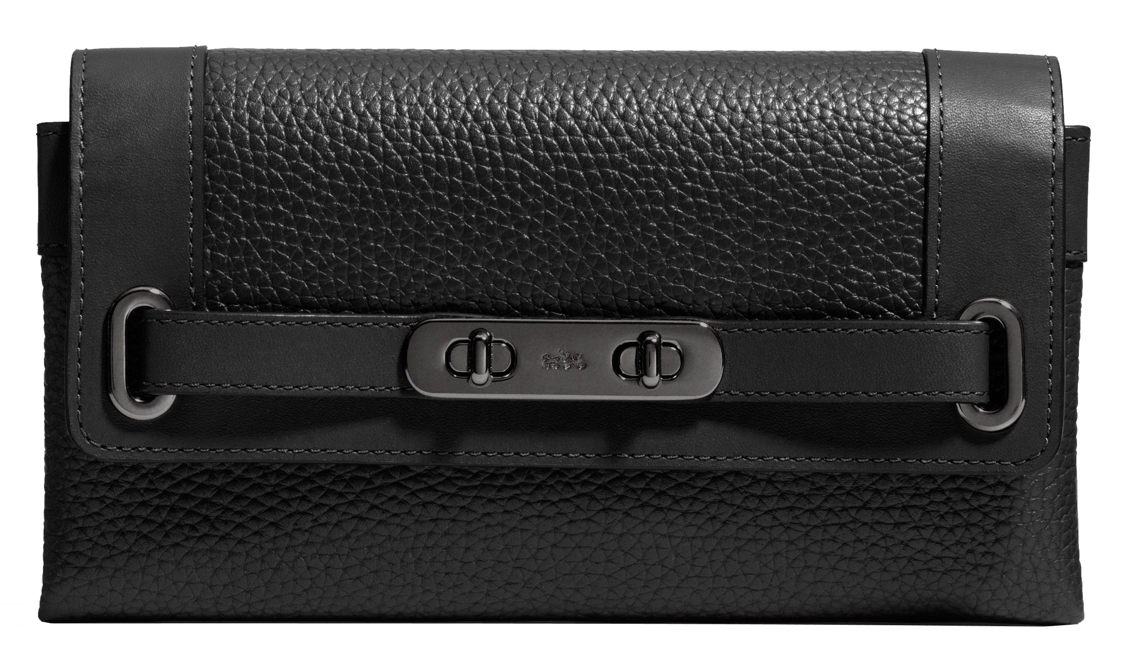 Coach Pebble Leather Swagger Wallet in BlackF53028 MW/BK by Coach (Image #1)
