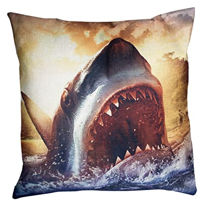 34c344321138 Image Unavailable. Image not available for. Color  Throw Pillows Cool Great  White Shark Pillow Cover ...