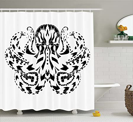 Kraken Decor Shower Curtain By Legendary Nordic Sea Monster With Ethnic Effects Myth Totem