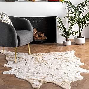 Nuloom Iraida Faux Cowhide Shaped Rug 5 9 X 7 7 Off White Furniture Decor