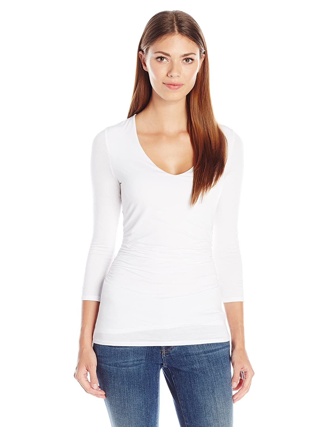 23dfab02f391 low-cost Three Dots Women s 3 4 Slv V-Neck Shirred Top - clicklabs.de