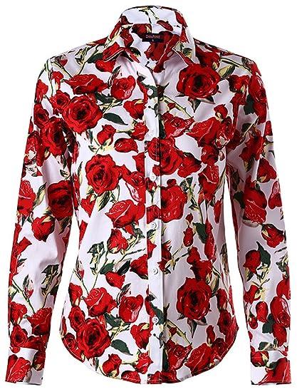 0b11b304ca5508 Dioufond Women Floral Print Button Down Shirts Long Sleeve Shirt Blouse, White,US XS