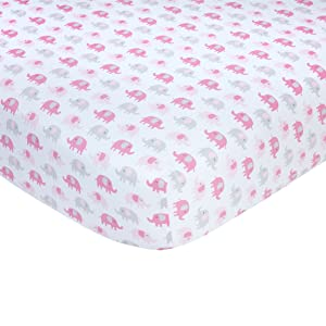 "Carter's Pink Elephant Print Cotton Sateen Crib Sheet - 52"" x 28"""
