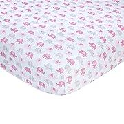 Carter's Pink Elephant Print Cotton Sateen Crib Sheet - 52  x 28