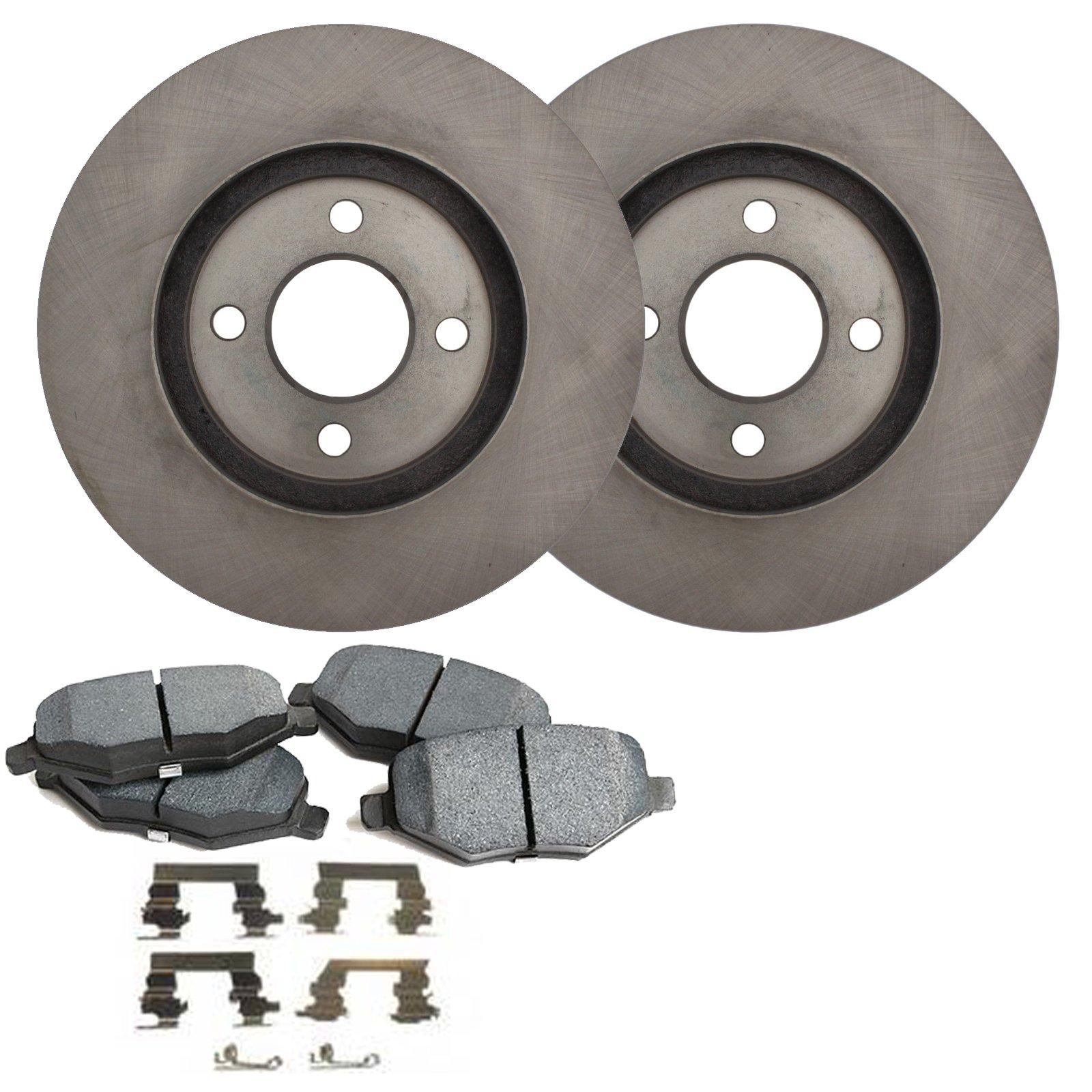 Detroit Axle - Front Disc Brake Rotors & Ceramic Pads w/Clips Hardware Kit Premium GRADE for 2008 2009 2010 2011 Ford Focus