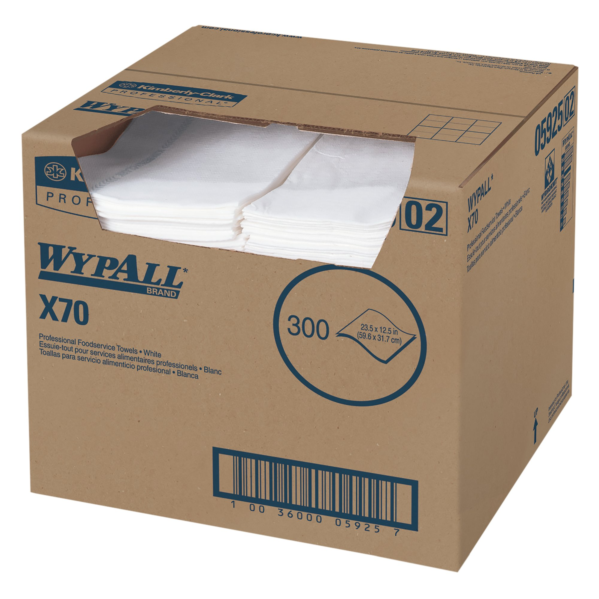 WypAll X70 Extended Use Foodservice Towels (05925) with Kimfresh Antimicrobial Treatment, White, 1 Box, 300 Sheets