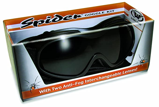 Over Glasses Motorcycle Goggles - Shatterproof Polycarbonate Goggles with Interchangeable Smoke and Clear Lenses