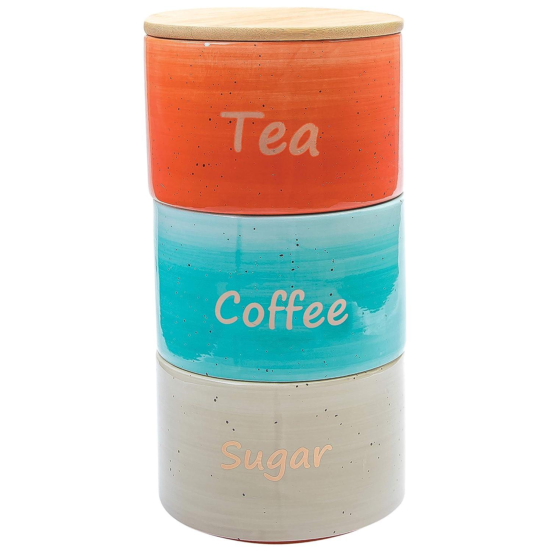 Amazon.com: Uno Casa Ceramic Canister Set For Coffee Tea Sugar - 3 ...