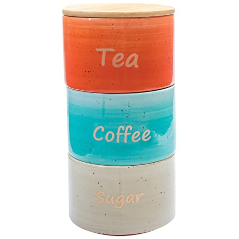 Uno Casa Ceramic Canister Set For Coffee Tea Sugar   3 Piece Kitchen  Storage Jars With