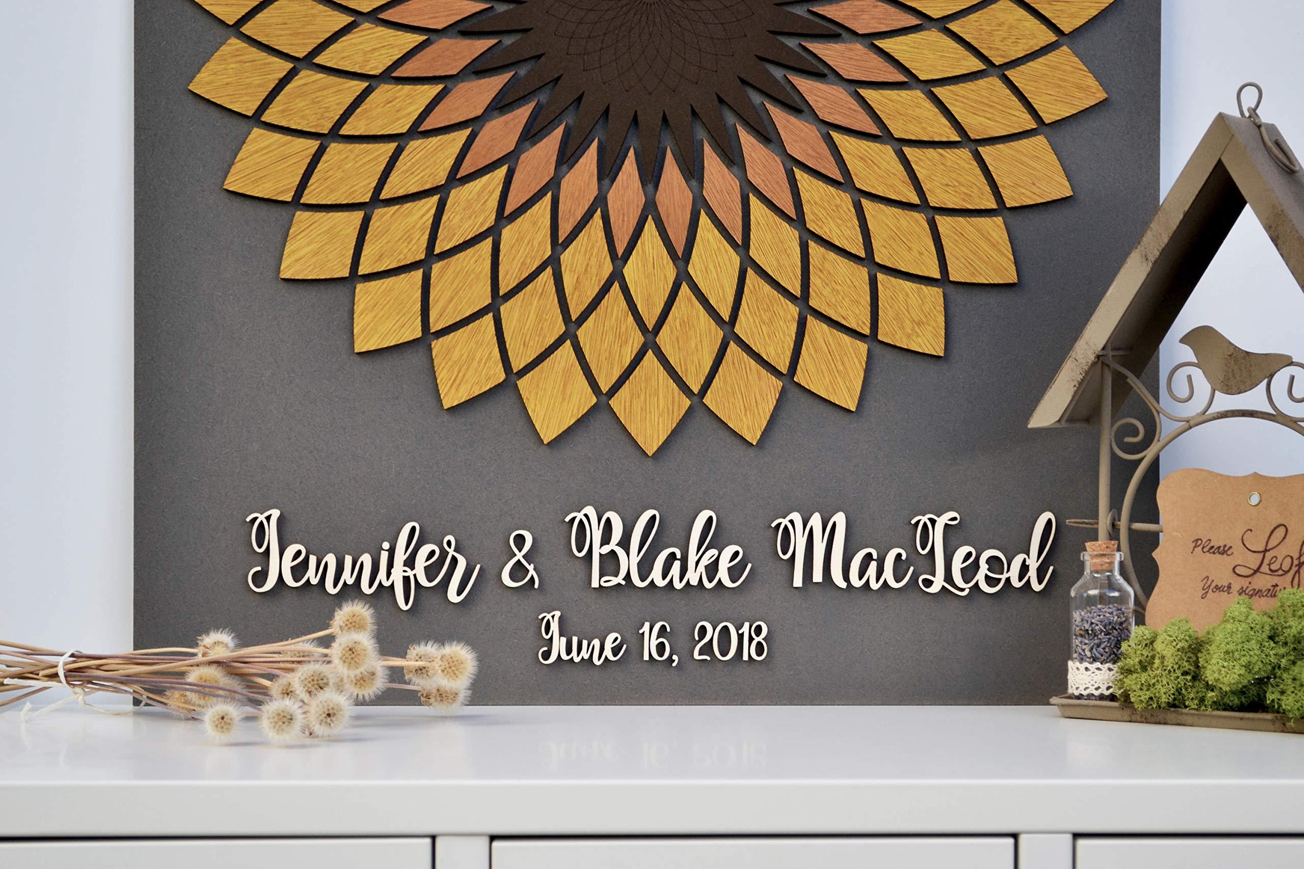 Yilooom 3D Sunflower Wedding Guest Book Alternative Wood Guest Book Custom Unique Guest Book Rustic Wedding Alternative Wedding Flower Rustic Decor