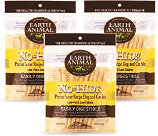 product image for Earth Animal Stix No-Hide Dog & Cat Chews, 3 10-Count Bags (30 Chews Total) - Made in The USA, Natural Rawhide Alternative Treats (Peanut Butter, Stix - 30 Chews)