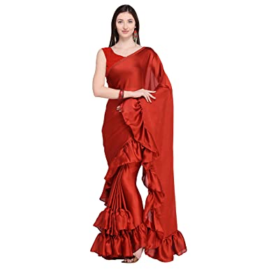 c67ace65cf9105 Four Seasons Rust Satin Ruffle Sari with Blouse  Amazon.in  Clothing    Accessories