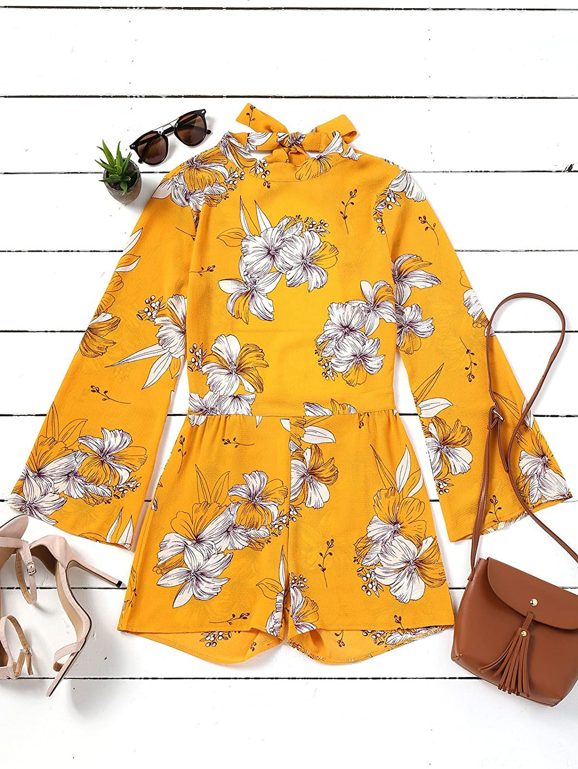 OppaaL Women Rompers Halter Neck Floral Print Backless Short Beach Boho Summer Jumpsuits with Long Sleeves