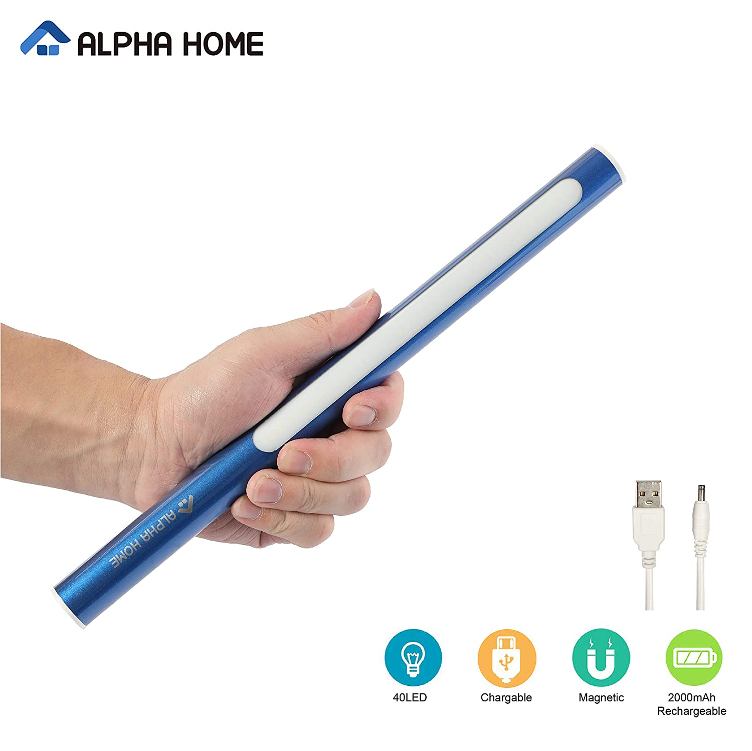 ALPHA HOME 40 LED Closet Light, Portable USB Rechargeable Sport Cupboard Light, Stick on Anywhere Magnetic LED Night Light, Blue