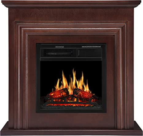 Jamfly 36 Wood Electric Fireplace Mantel Package Freestanding Heater Corner Firebox With Log Hearth And Remote Control 750 1500w Dark Espresso Finish Home Kitchen