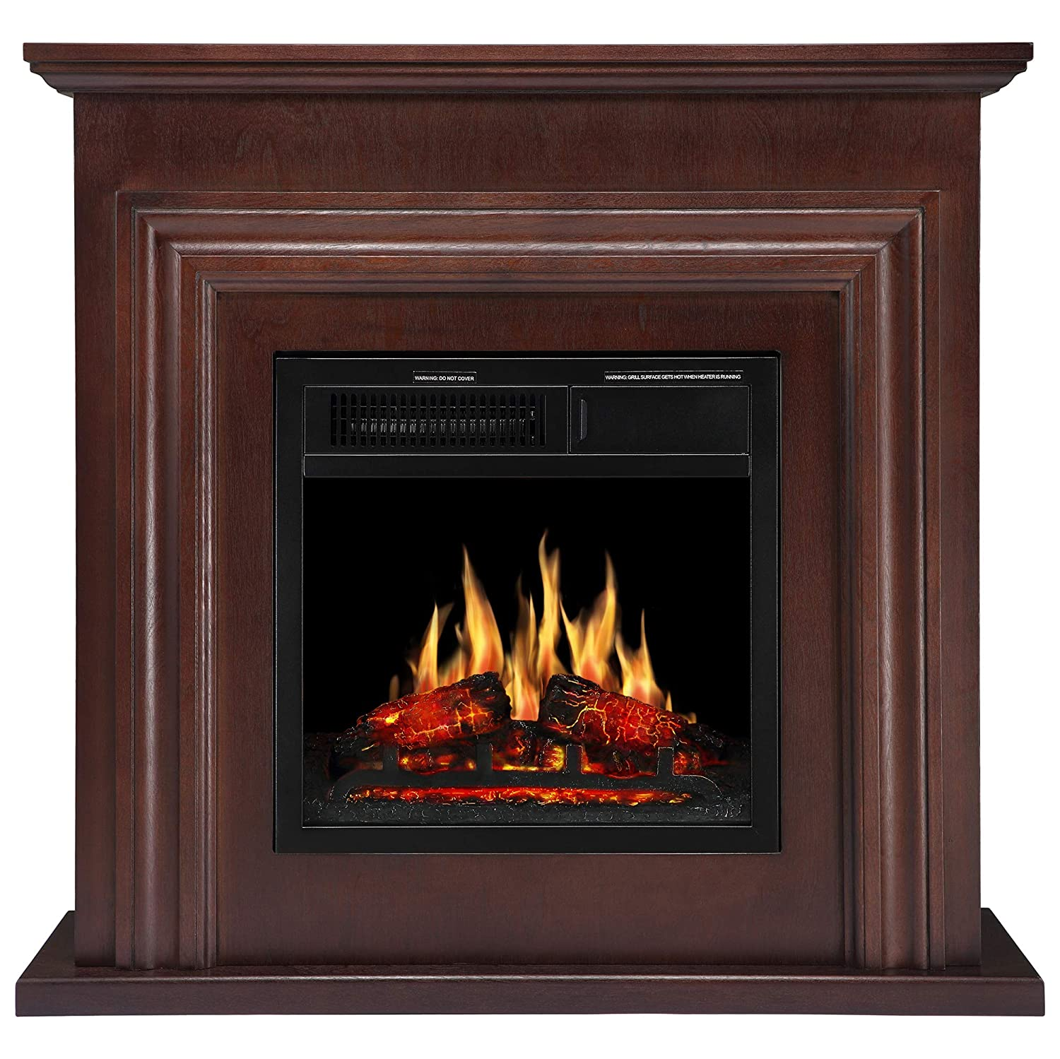 JAMFLY 36'' Wood Electric Fireplace Mantel Package - stone electric fireplace