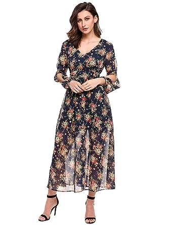 e7f49b0b61f Zeagoo Women V-Neck Long Sleeve High Waist Floral Print Chiffon Wedding Maxi  Dress