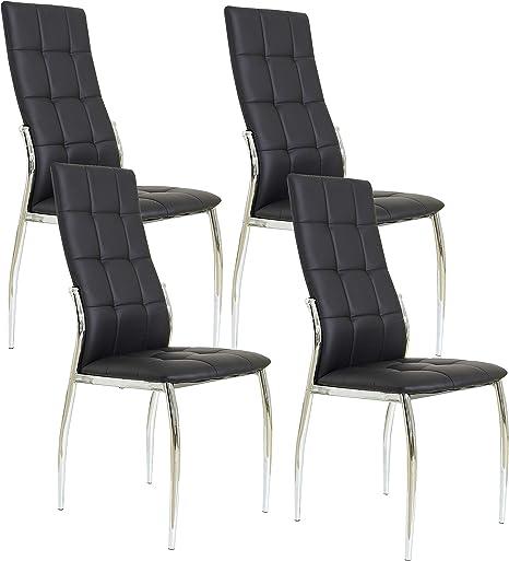 Miroytengo Pack 4 sillas Laci Estilo Moderno Negras Comedor Salon ...