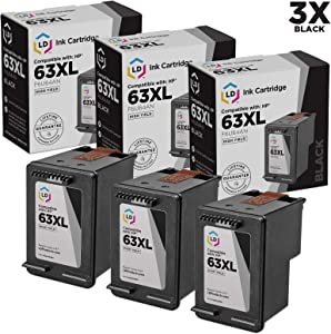 LD Remanufactured Ink Cartridge Replacement for HP 63XL F6U64AN High Yield (Black, 3-Pack)