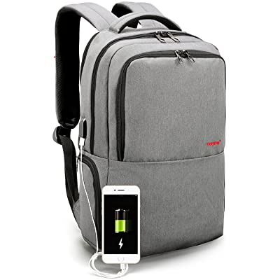 LAPACKER 15.6 inch Lightweight Durable Business Laptop Backpack with USB Charging Port, Anti Theft College Bookbag Computer Backpack for Women&Mens fits UNDER 17 Inch Notebook, Macbook - Grey