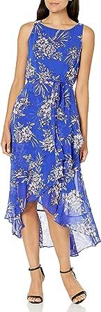Sandra Darren Womens 71541 1 Pc Sleeveless Uneven Hem Belted Chiffon Dress Sleeveless Casual Dress - Blue