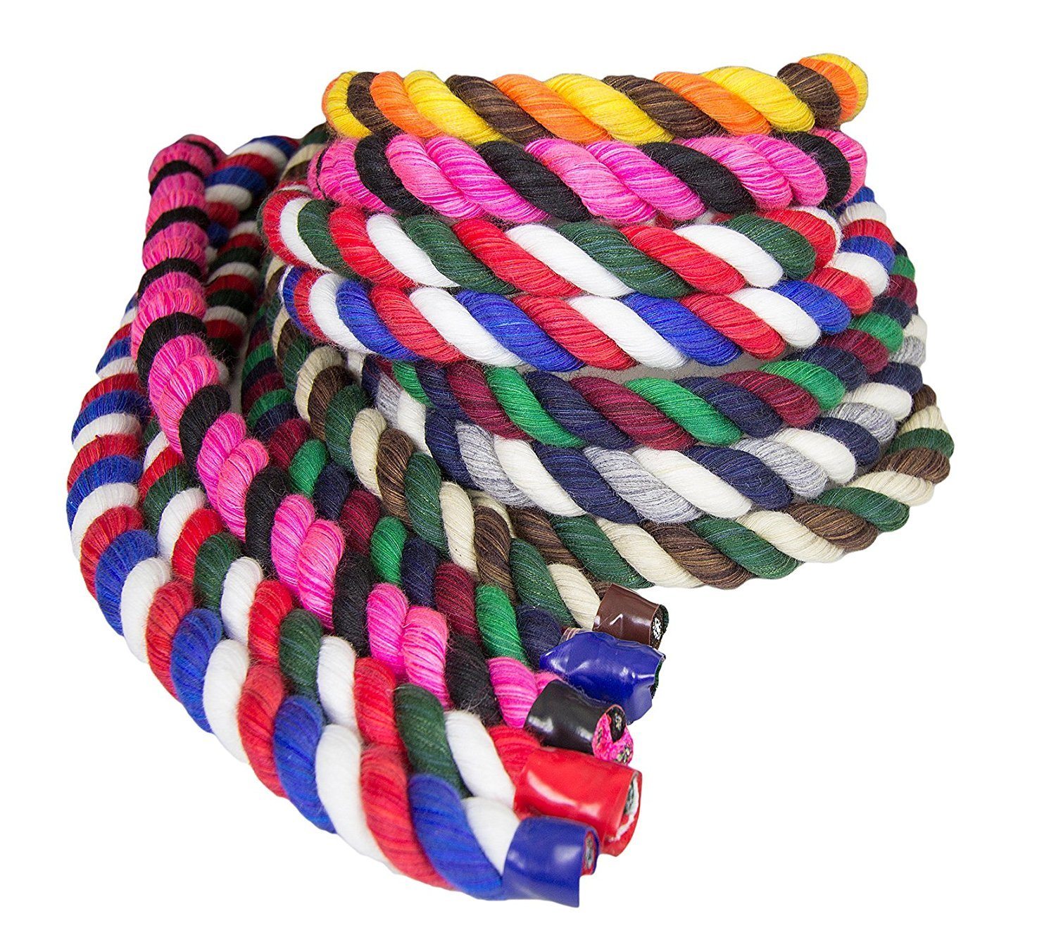 Tri-Color Natural Twisted Cotton Rope by FMS Ravenox | (Black, Black & Royal Blue)(1/2-inch x 50-feet)| Made in the USA | 3-Strand Rope by the Foot for Macramé, Décor & Design, Sports, Pet Toys, Craft by FMS
