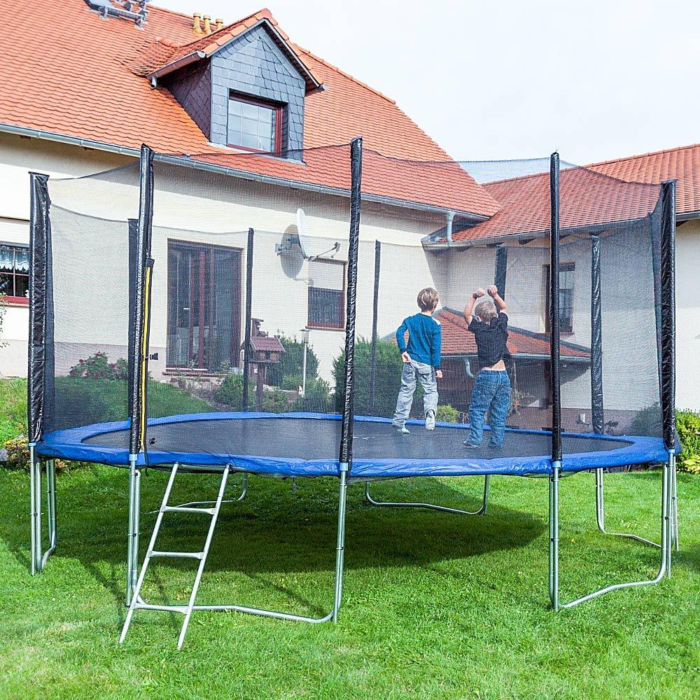 Gartentrampoline Trampoline Outdoor-Trampoline Fitness-Trampoline 490cm , inkl. Randabdeckung ,Sicherheitsnetz und Leiter
