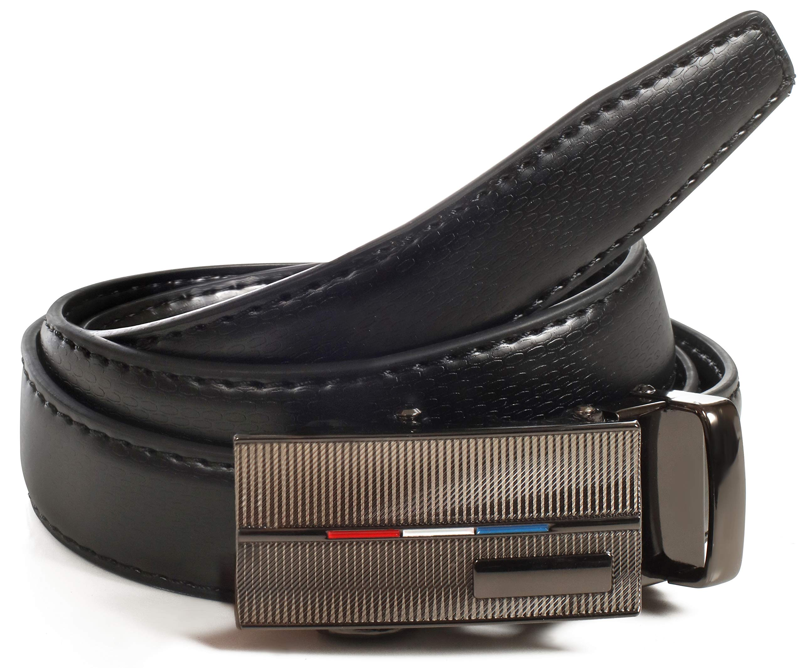 CANDOR AND CLASS Boy's Leather Ratchet Belt, Automatic Buckle, Adjustable Belt Without Holes, (Up to 32 Inch Waist, B724 Black)