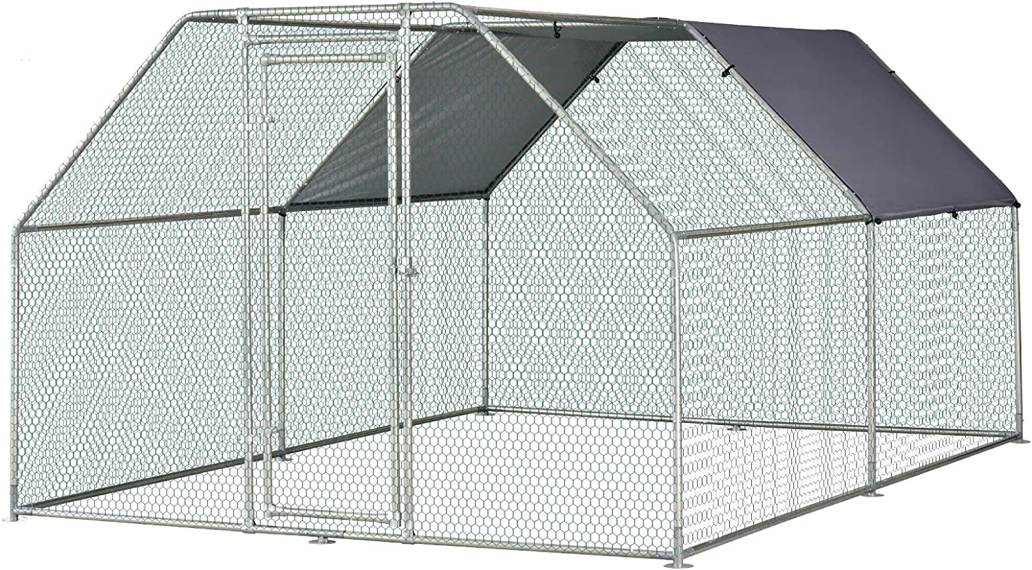 PawHut Galvanized Metal Chicken Coop Cage with Cover, Walk-in Pen Run