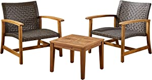 Great Deal Furniture Alyssa Outdoor 3 Piece Wood and Wicker Club Chairs and Side Table Set, Mixed Mocha