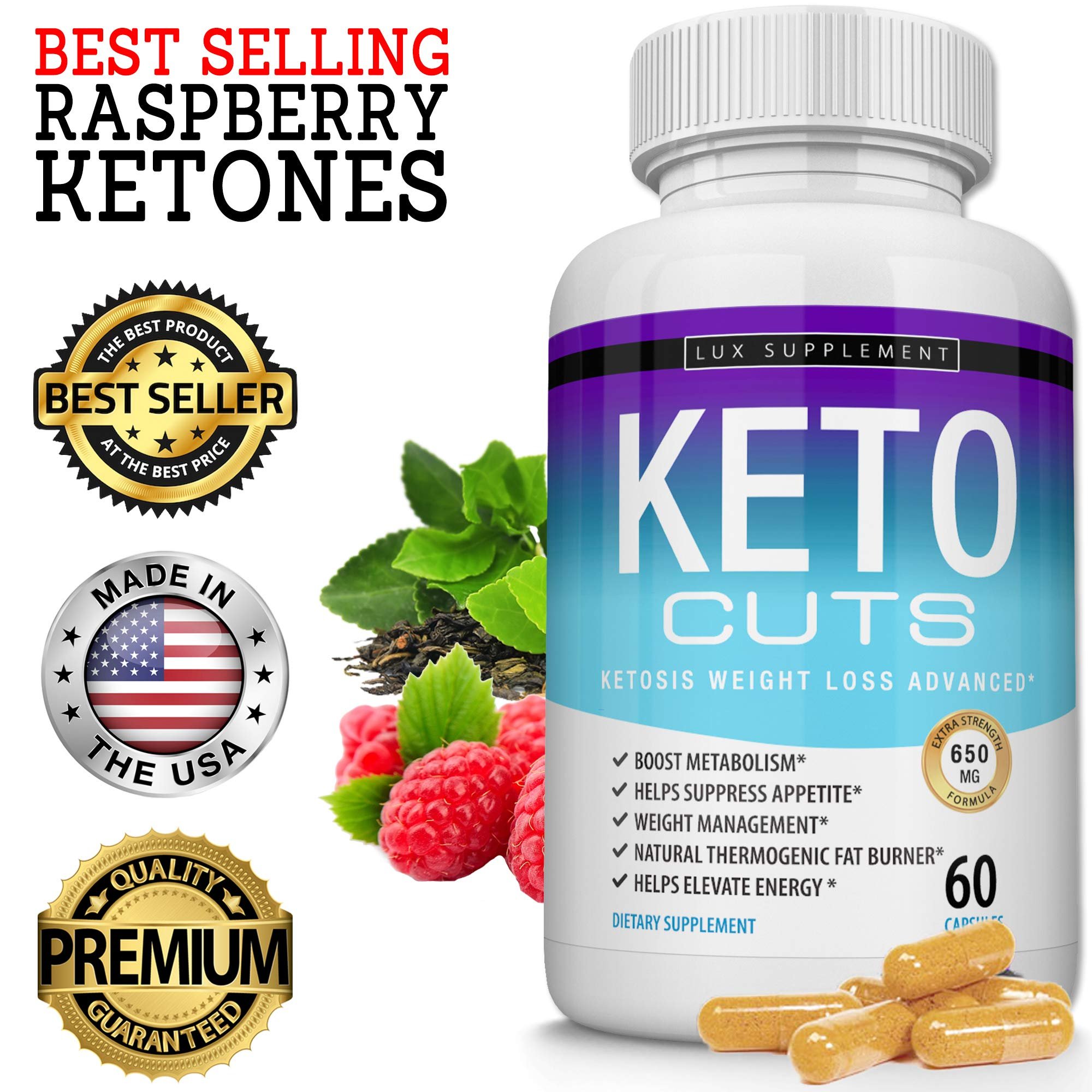 Keto Cuts Pills Ketosis Weight Loss Advanced - Best Ultra Fat Burner Using Ketone and Ketogenic Diet, Boost Metabolism and Energy While Burning Fat, Men Women, 60 Capsules Lux Supplement by Lux Supplement (Image #2)