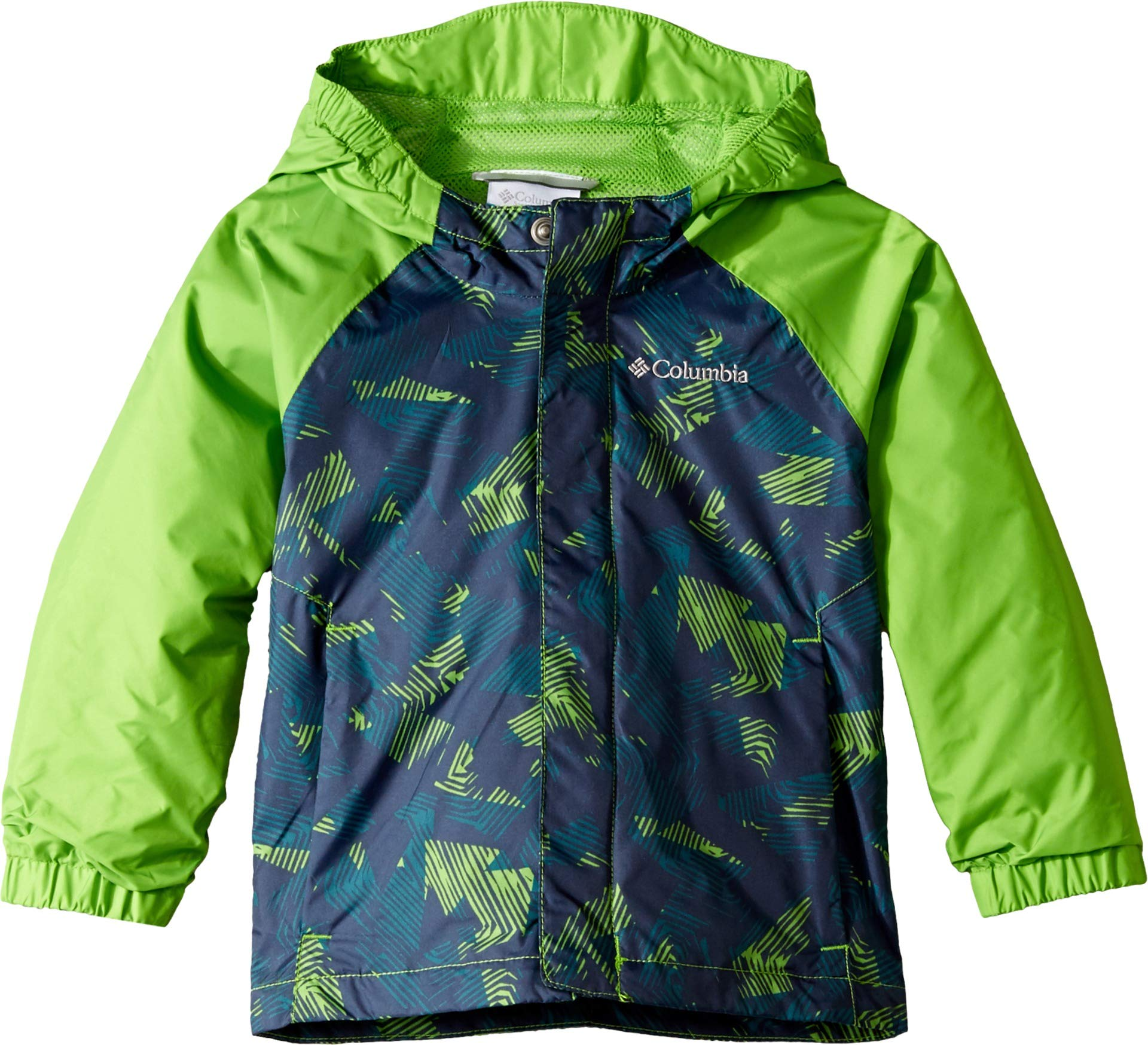 Columbia Kids Baby Boy's Fast and Curious¿ II Rain Jacket (Toddler) Cyber Green Invizza/Collegiate Navy Texture 3T