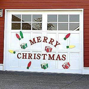 Bandwagon Christmas Garage Door Decals, Red,