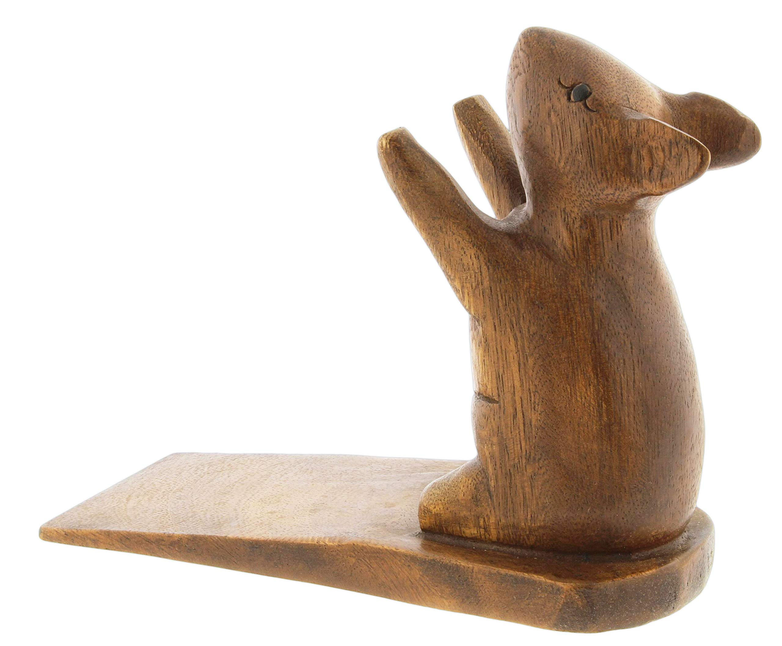 Decorative Carved Wood Doorstop (Mouse)