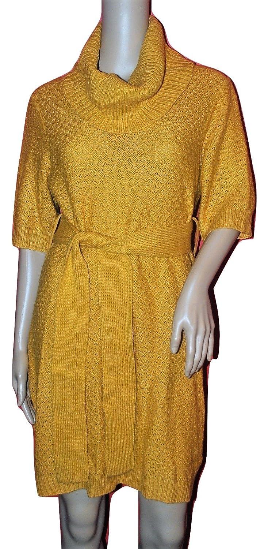 ba22d5278aa8 Suzie in the City Women s Eyelet Knit Sweater Dress Butterscotch Medium at  Amazon Women s Clothing store