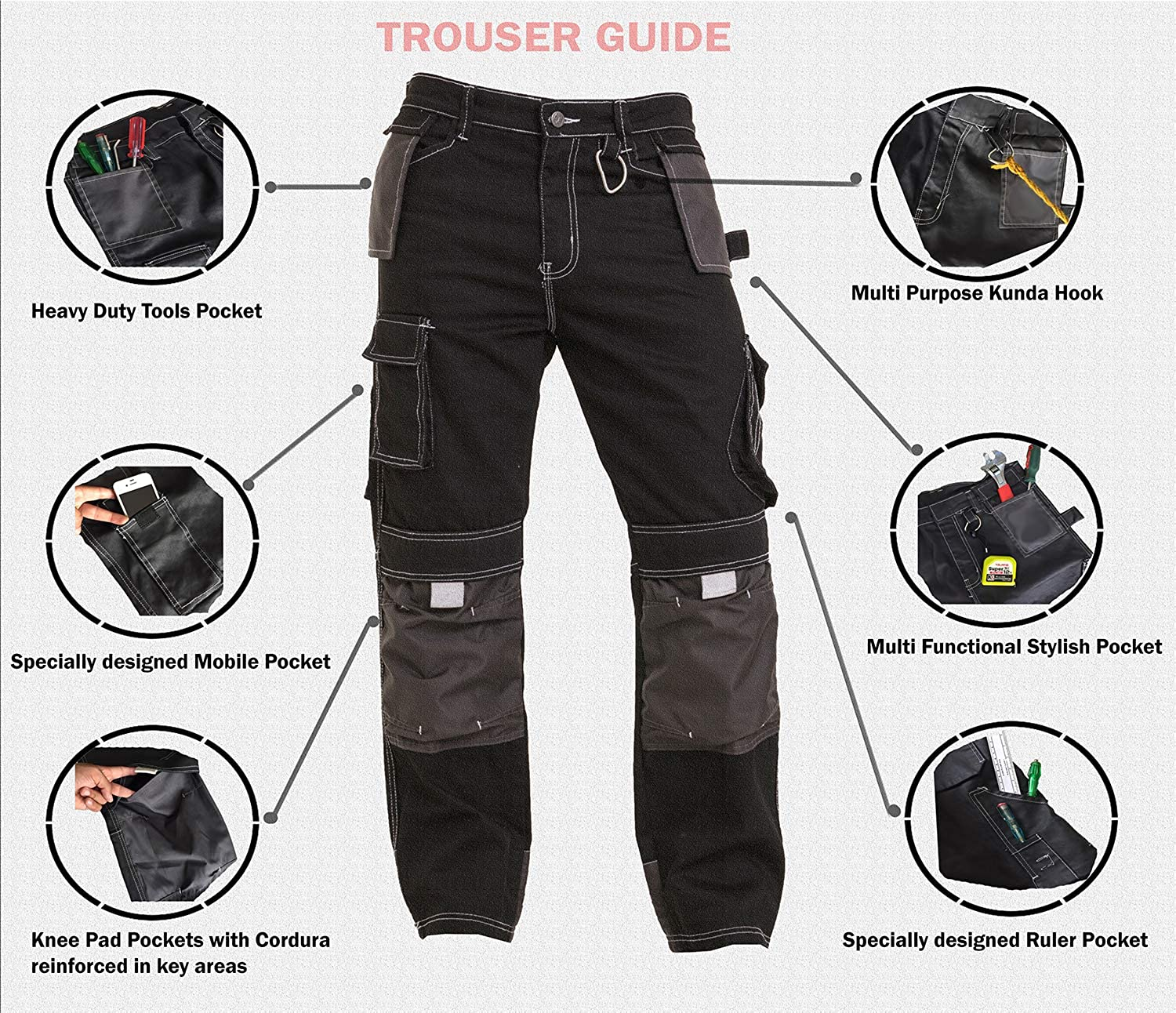 Mens Work Worker Working Safety Knee Cargo Combat Pants Trousers Size 32