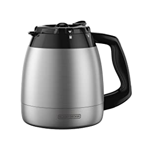 BLACK+DECKER 12-Cup Replacement Thermal Carafe with Duralife Construction, Stainless Steel, TC1200B (Renewed)
