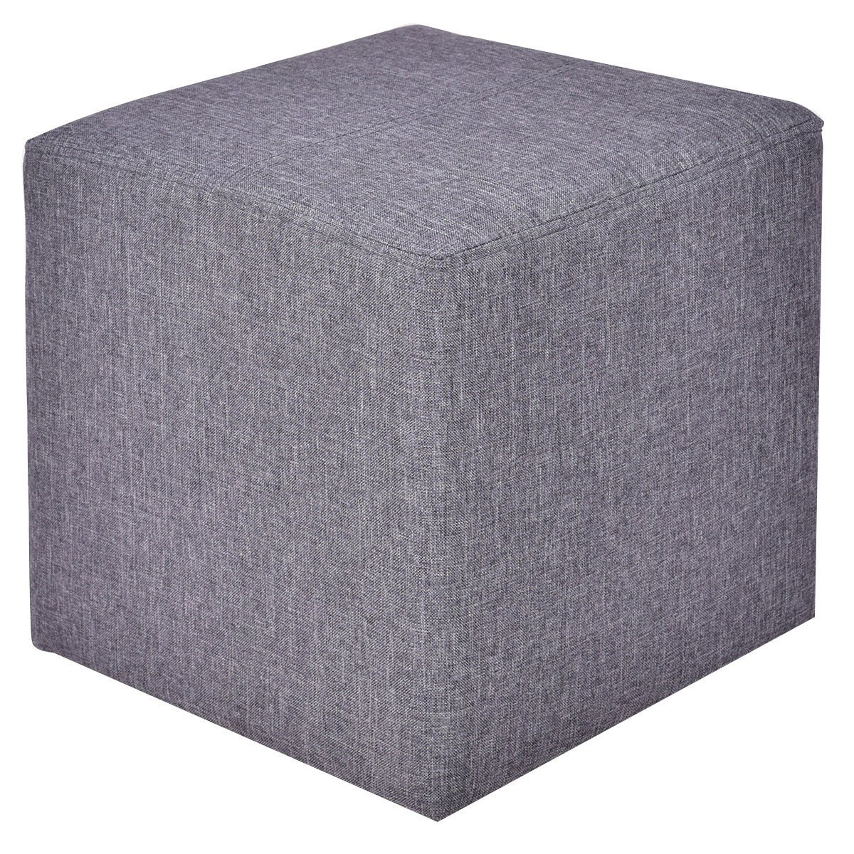 Ottoman Storage Box Square Foot Stool Footstools Seat Wood Frame Footrest Linen Gray